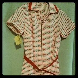 Nordstrom Vintage ALine Belted Red Shirtdress BNWT